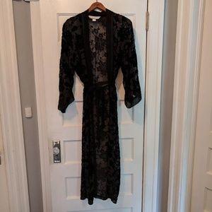 Vintage Victoria's Secret Black Burnout Robe - XS